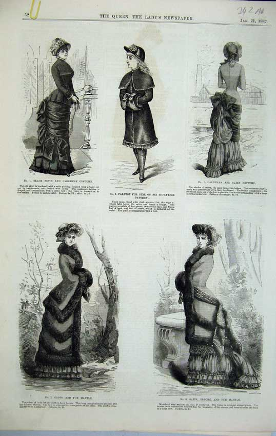 Print 1882 Womens Fashion Fur Mantle Costume Girl Hat Bonnet 342C218 Old Original