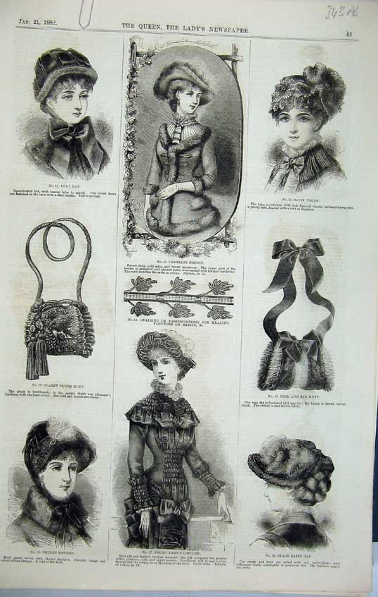 Print Womens Fashion Carriage Bodice 1882 Hat Costume Moire 343C218 Old Original