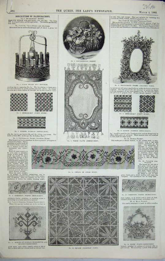 Print 1882 Pattern Basket Cigar Embroidery Valance Borders 345C218 Old Original