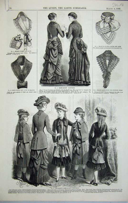 Print Womens Fashion 1882 Children Costumes Spring Mantles 346C218 Old Original