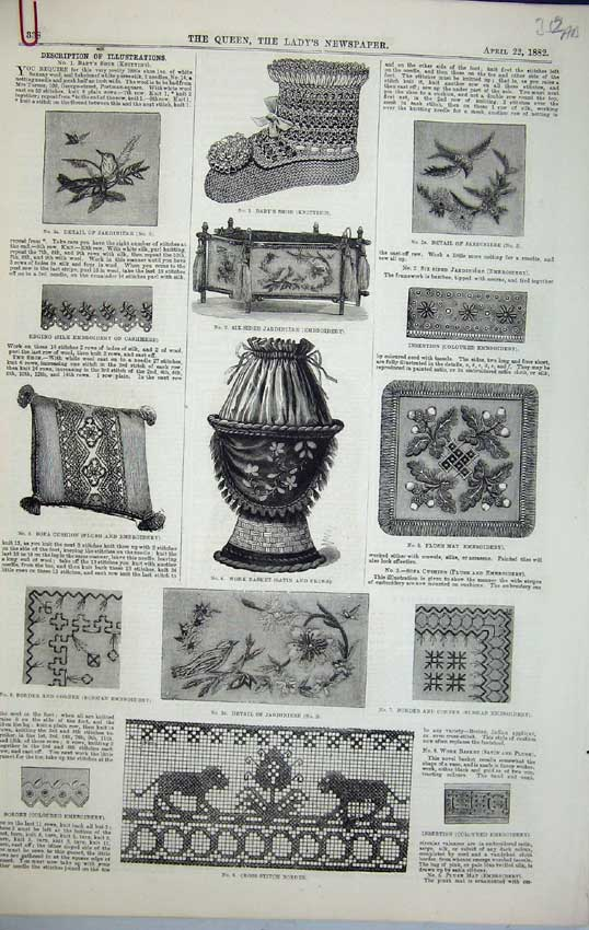 Print 1882 Cross-Stitch Border Basket Embroidery Fashion Robe 352C218 Old Original