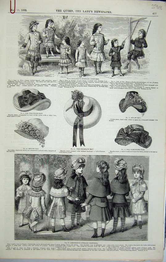 Print Womens Fashion Children Costume 1882 Hat Dress House 359C218 Old Original
