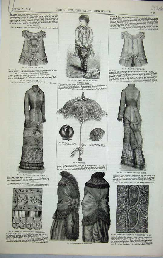 Print 1880 Women Fashion Parasol Costume Frock Mantelet 363C218 Old Original