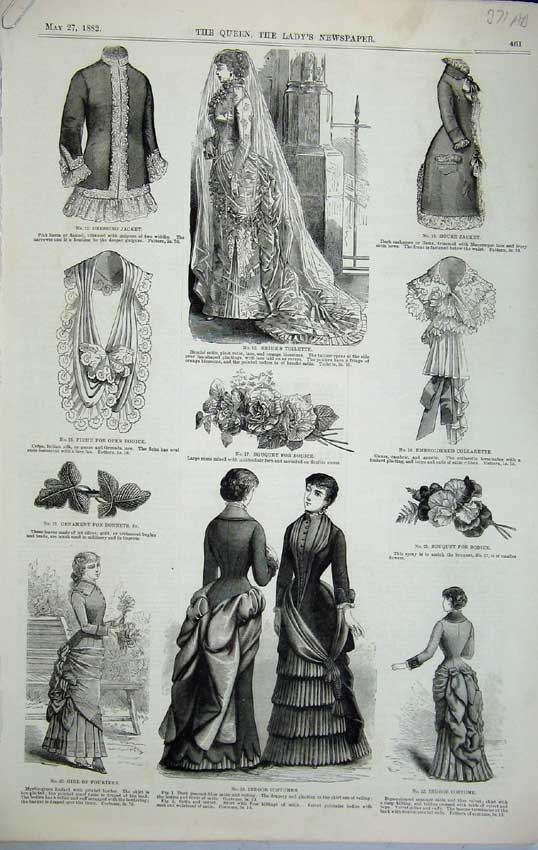 Print 1882 Womens Fashion Jacket Costume Bodice Lace Parure 371C218 Old Original