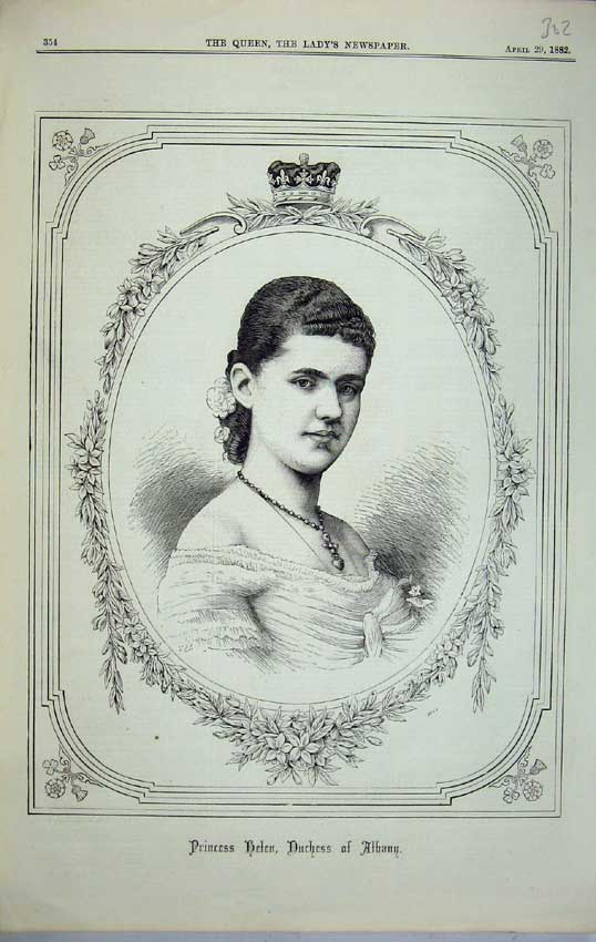Print 1882 Portrait Princess Helen Duchess Albany Royal B302C218 Old Original