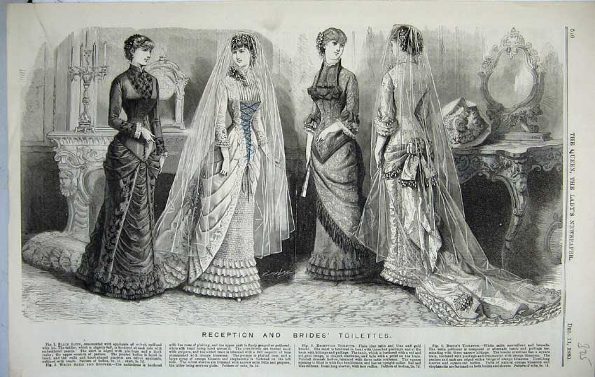 Print Royal Family 1880 Beautiful Women Dresses Fashion B305C218 Old Original