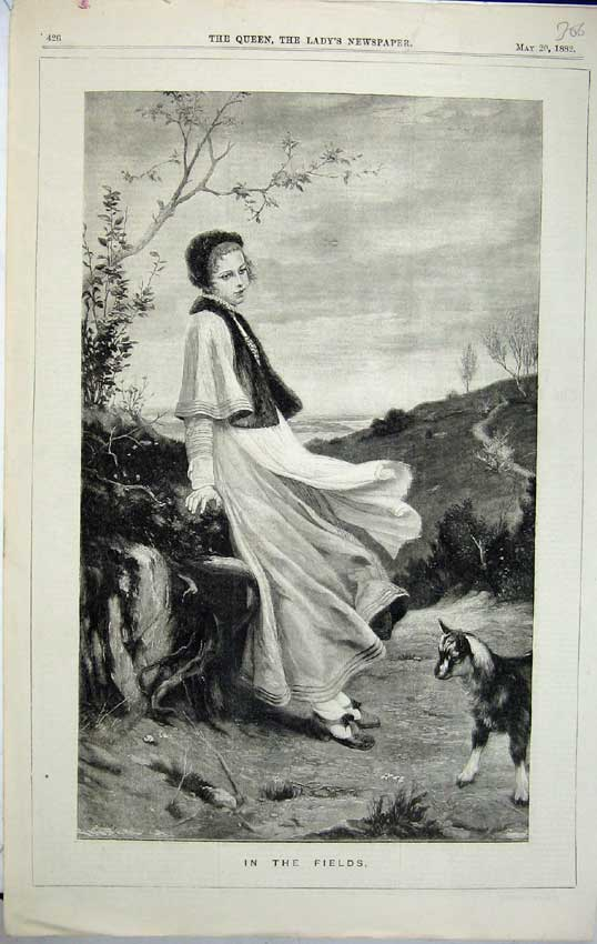 Print 1882 Beautiful Woman Country Goat Fields Trees Plants B306C218 Old Original
