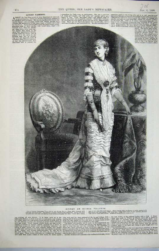 Print 1880 Beautiful Woman Dinner Soiree Toilette Fashion B308C218 Old Original