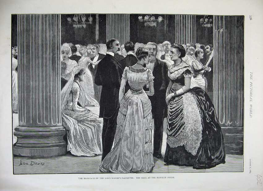 Print 1883 Wedding Lord Mayor Daughter Ball Mansion House 402C219 Old Original