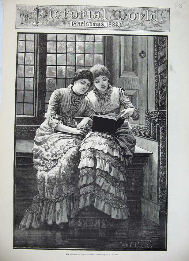 Print 1883 Beautiful Young Girls Reading Book Sitting Window 405C219 Old Original