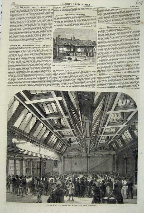 Print 1868 Interior London Westminster Bank Lothbury Market 408C219 Old Original