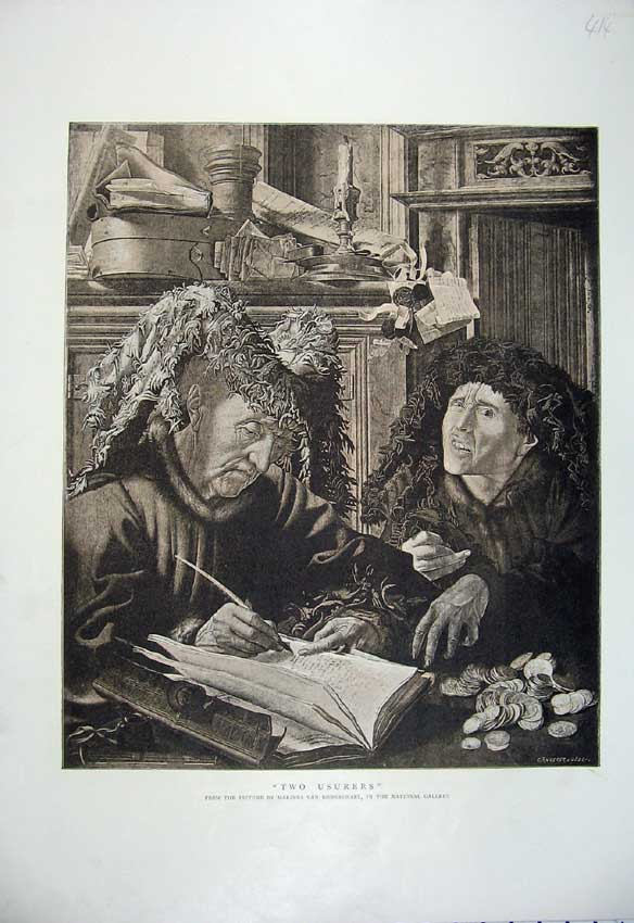 Print Two Usurers Women Books Money Van Romerswael 414C219 Old Original