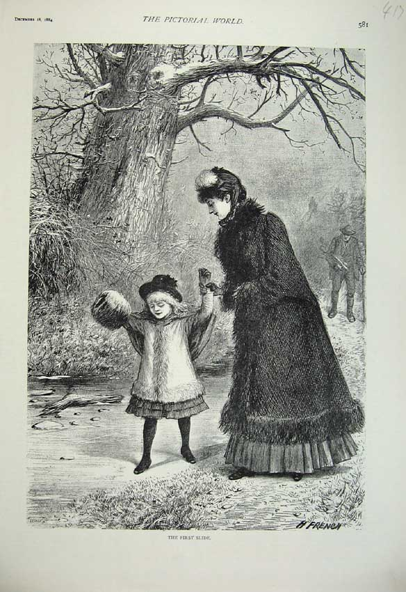 Print 1884 Young Girl Ice Skating Winter Country Park Fur 417C219 Old Original