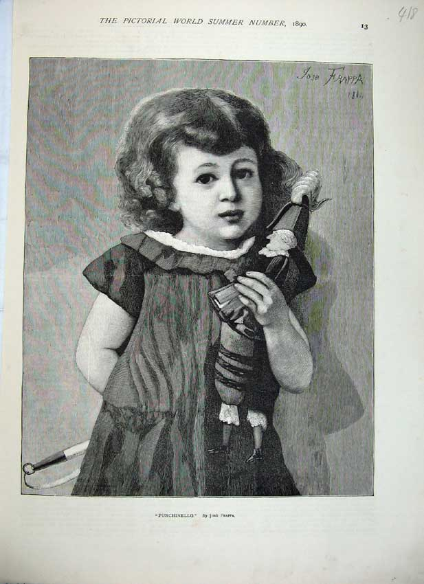 Print 1890 Punchinello Young Girl Puppet Toys Frappa Fine Art 418C219 Old Original