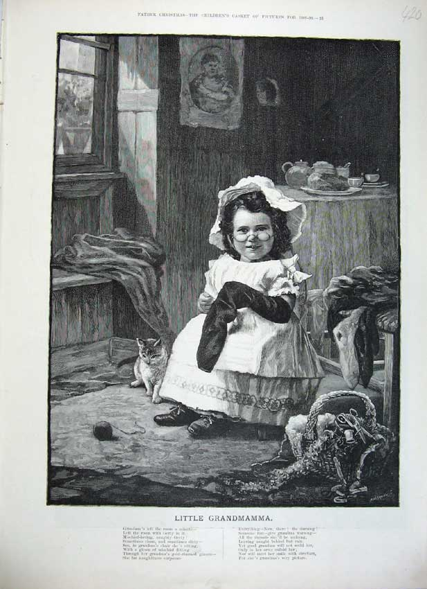 Print 1889 Little Grandmamma Young Girl Sewing Socks Cat Art 420C219 Old Original