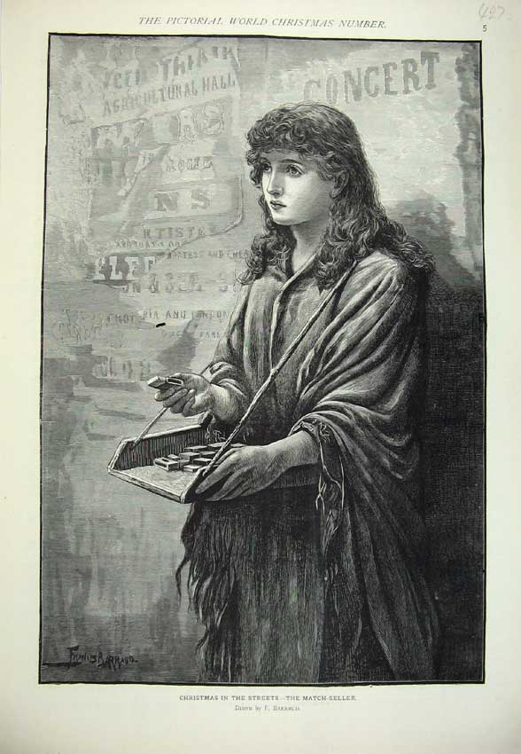 Print Christmas Street Match Seller Young Woman Poor Lady 427C219 Old Original