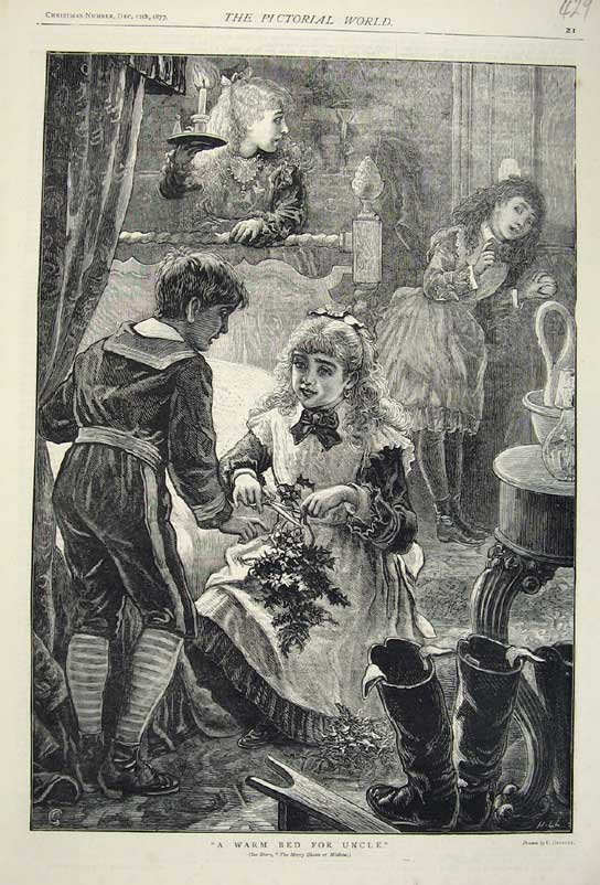Print 1877 Christmas Children Mischief Holly Bed Candle Art 429C219 Old Original