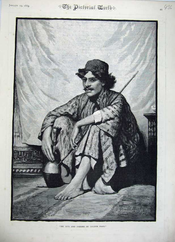 Print 1883 Fine Art Man Sitting Pipe Indian Robes Fine Art 436C219 Old Original