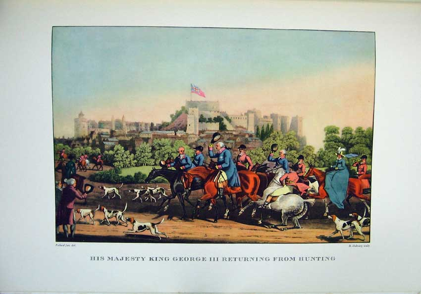 Print 1955 King George Fox Hunting Horses Hound Castle Sport 106C220 Old Original