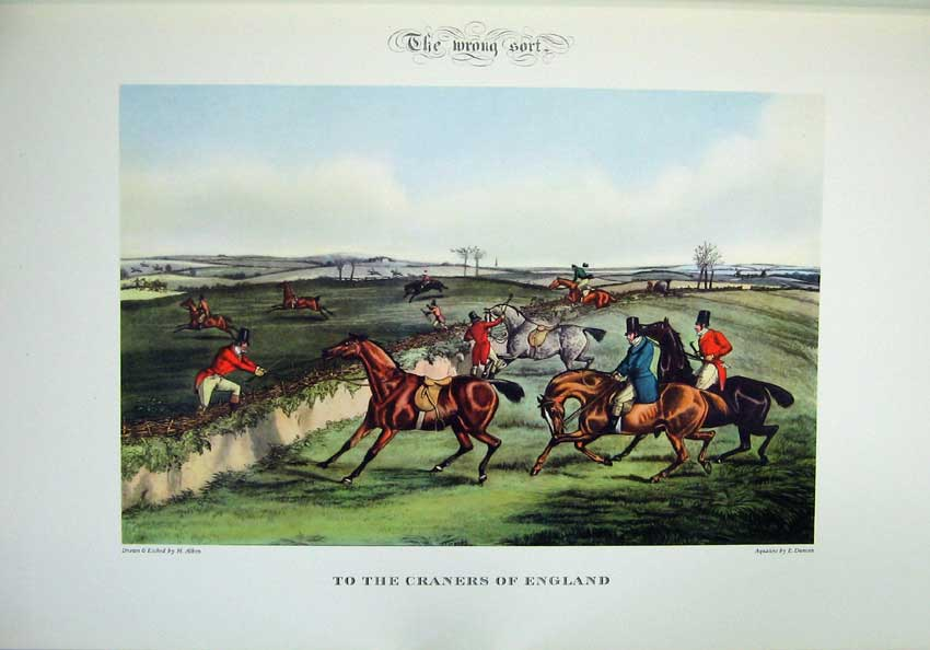 Print 1955 Hunting Sport Horses Refusing Fences England Men 111C220 Old Original