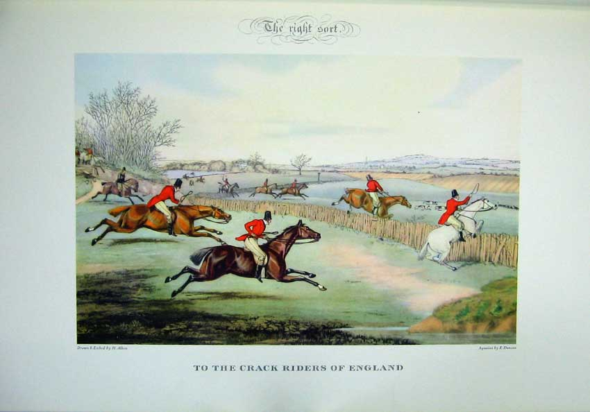 Print 1955 Horse Hunting England Men Hounds Dogs Colour 112C220 Old Original