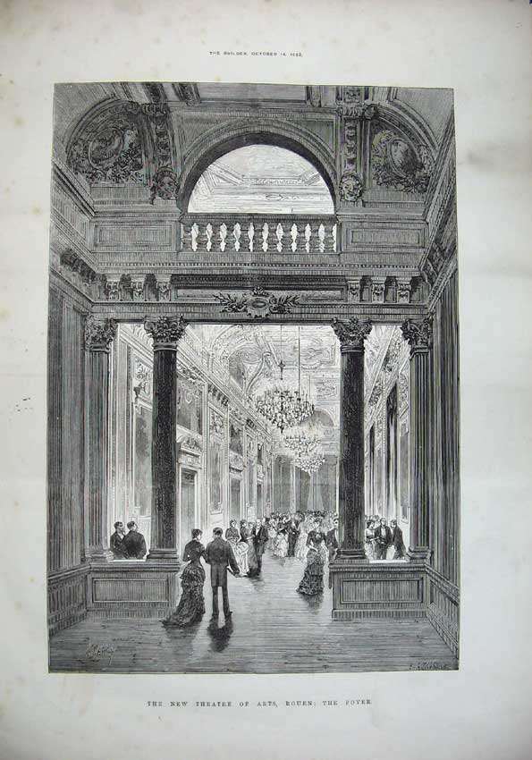 Print 1882 Interior New Theatre Arts Rouen Foyer Architecture 005C221 Old Original