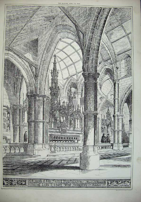 Print 1883 Church Sacred Hearts West Brompton Architecture 012C221 Old Original