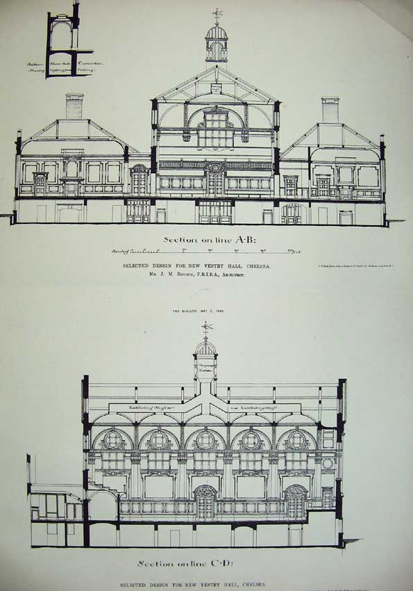Print Design Vestry Hall Chelsea Brydon Architecture Plan 029C221 Old Original