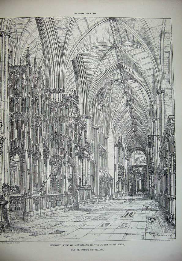 Print 1885 View Monuments Choir Paul'S Cathedral Architecture 031C221 Old Original