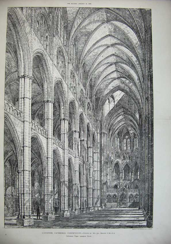 Print *0138 1886 Liverpool Cathedral Interior Brooks Architecture 036C221 Old Original