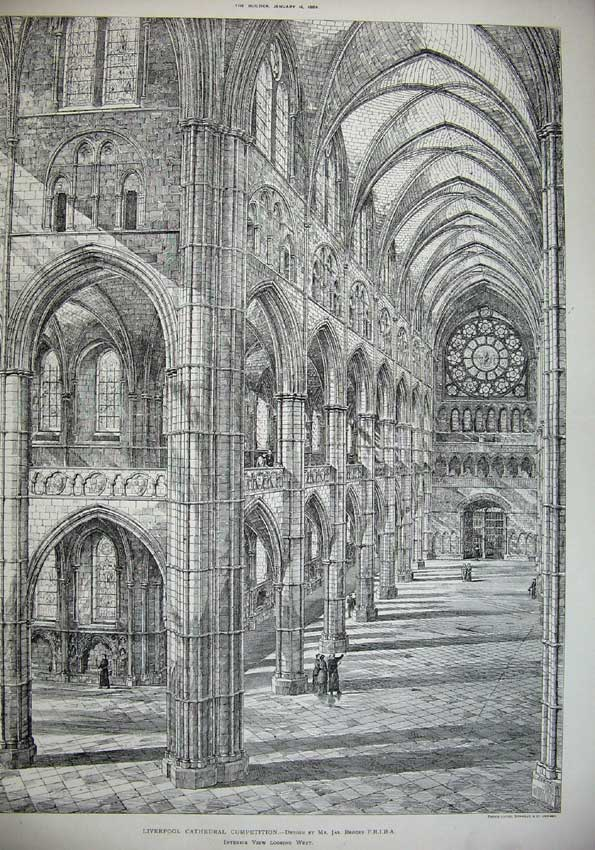 Print 1886 Liverpool Cathedral Interior Brooks Architecture 037C221 Old Original