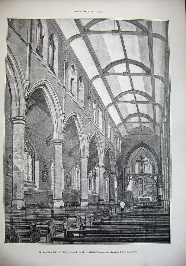 Print 1886 St James Church Liverpool Hadfield Architecture 042C221 Old Original