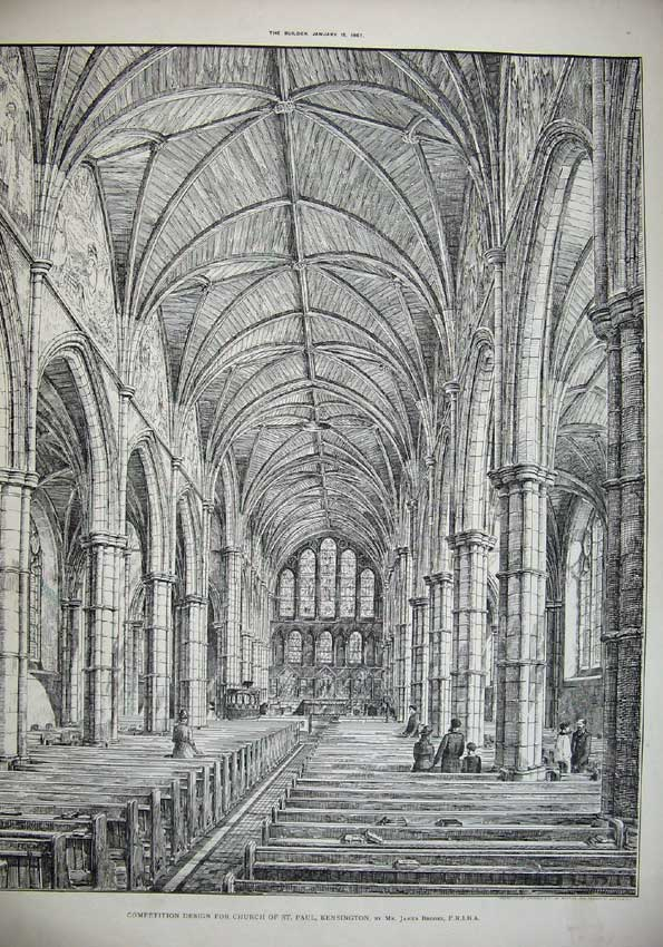 Print 1887 Design St Paul Church Kensington Brooks Architect 049C221 Old Original