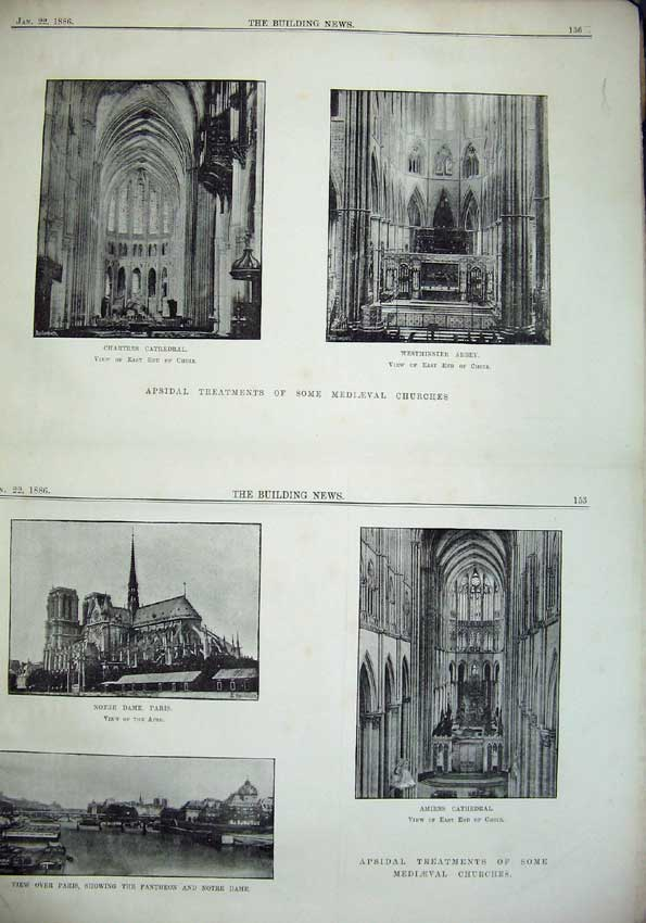 Print 1886 Chartres Cathedral Westminster Abbey Notre Paris 059C221 Old Original