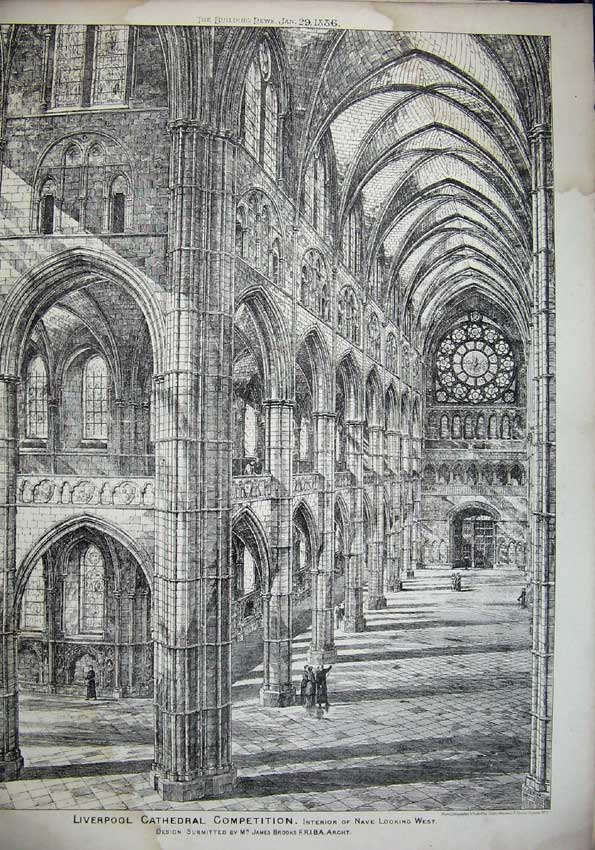 Print 1886 Liverpool Cathedral Nave James Brooks Architecture 060C221 Old Original