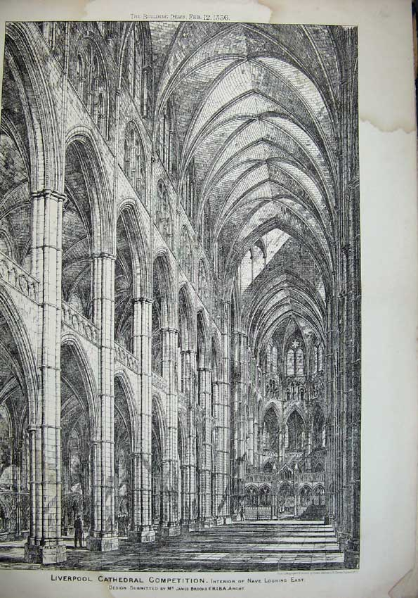 Print 1886 Nave Liverpool Cathedral James Brooks Architecture 061C221 Old Original