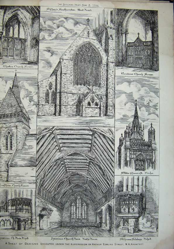 Print 1886 Whiston Church Mary'S Thomas Graffam Architecture 072C221 Old Original