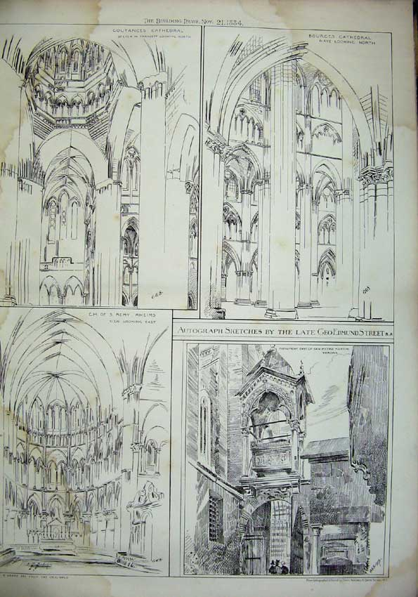 Print 1884 Coutances Cathedral Bourges Architecture Church 074C221 Old Original