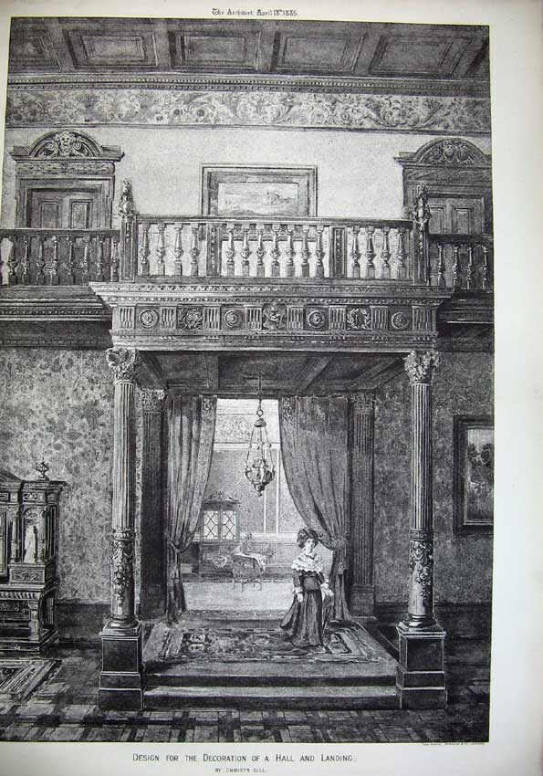 [Print 1885 Design Decoration Hall Landing Gill Architecture 080C221 Old Original]