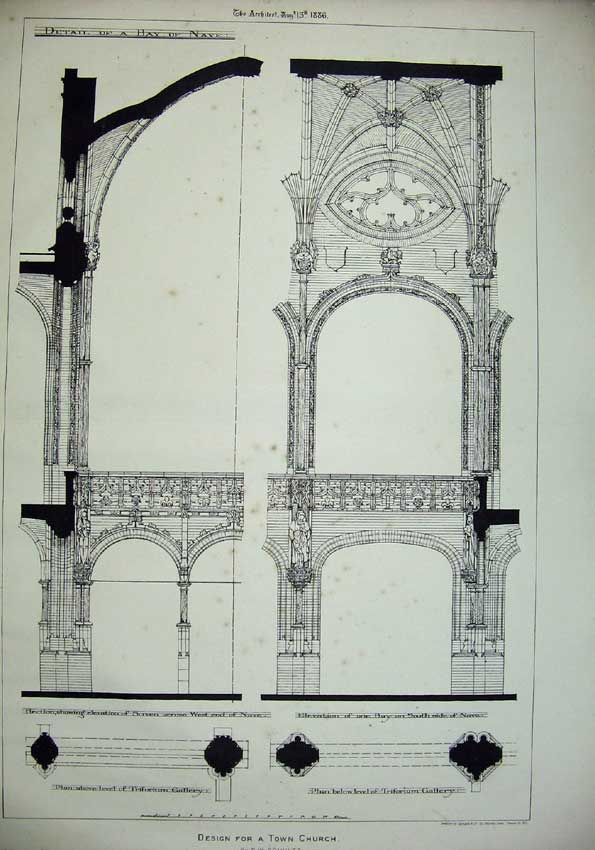 Print 1886 Design Town Church Nave Gallery Architecture Plan 082C221 Old Original