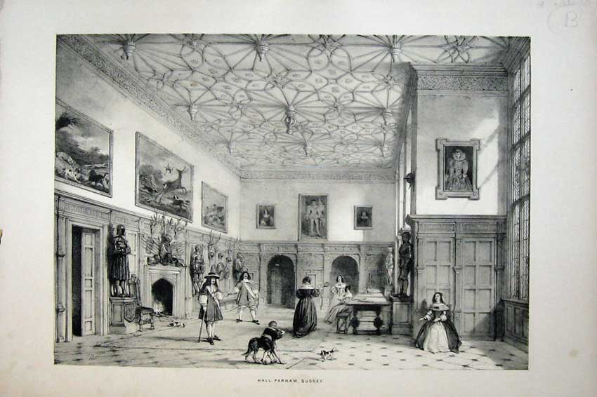 Print Nash 1840 Interior Hall Parham Castle Sussex England 104C223 Old Original
