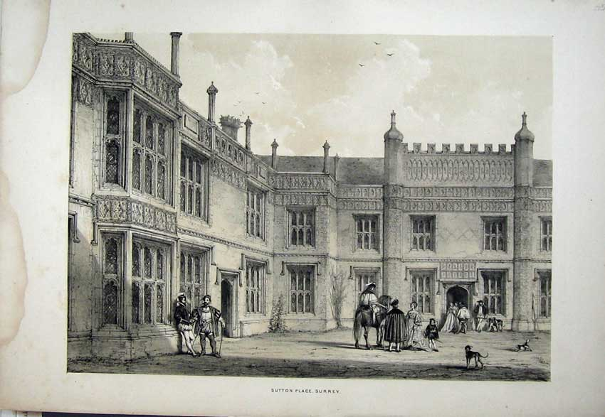 Print Nash 1840 Exterior Sutton Place Horse Surrey England 107C223 Old Original