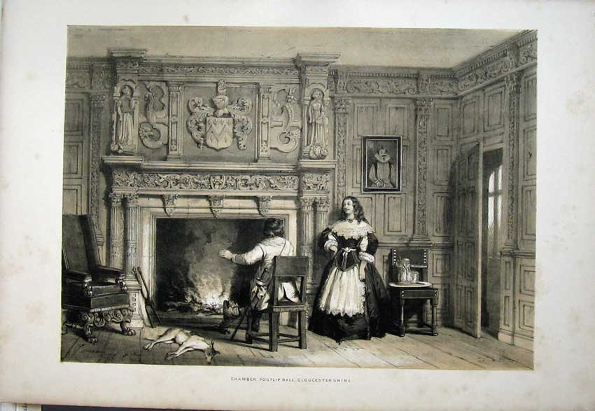 Print Nash 1840 Fire-Place Chamber Postlip Gloucestershire 108C223 Old Original