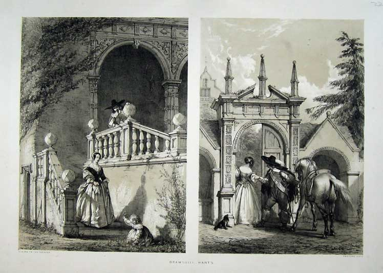 Print Bramshill Hants Postern Gate Terrace Stairs Nash 1840 109C223 Old Original