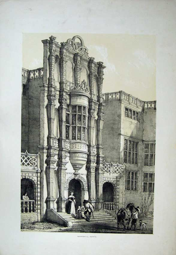 Print Nash 1839 Exterior View Bramshill Castle Hants England 110C223 Old Original
