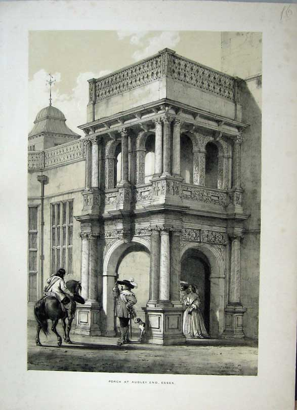 Print Nash 1840 Exterior Porch Audley End Essex England Horse 113C223 Old Original