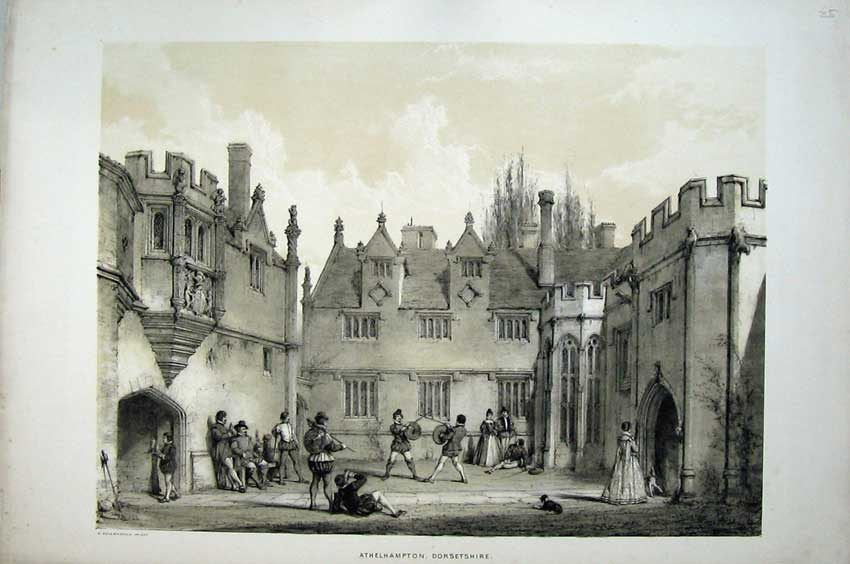 Print Nash 1840 Men Sword Fight Athelhampton Dorsetshire 115C223 Old Original