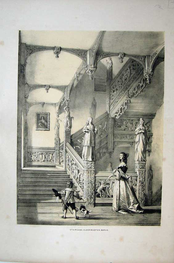 Print Nash 1840 View Staircase Aldermaston Berks England Dog 116C223 Old Original