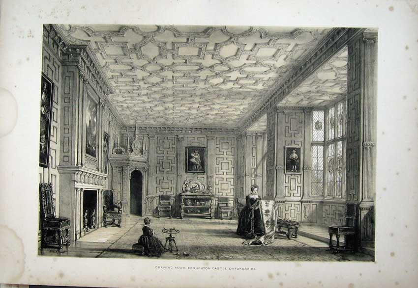 Print Nash 1840 Drawing Room Broughton Castle Oxfordshire 121C223 Old Original