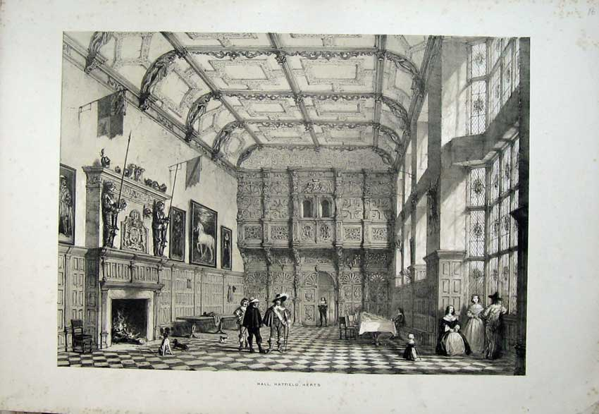 Print Nash 1839 Interior Knights Hall Hatfield House Herts 122C223 Old Original